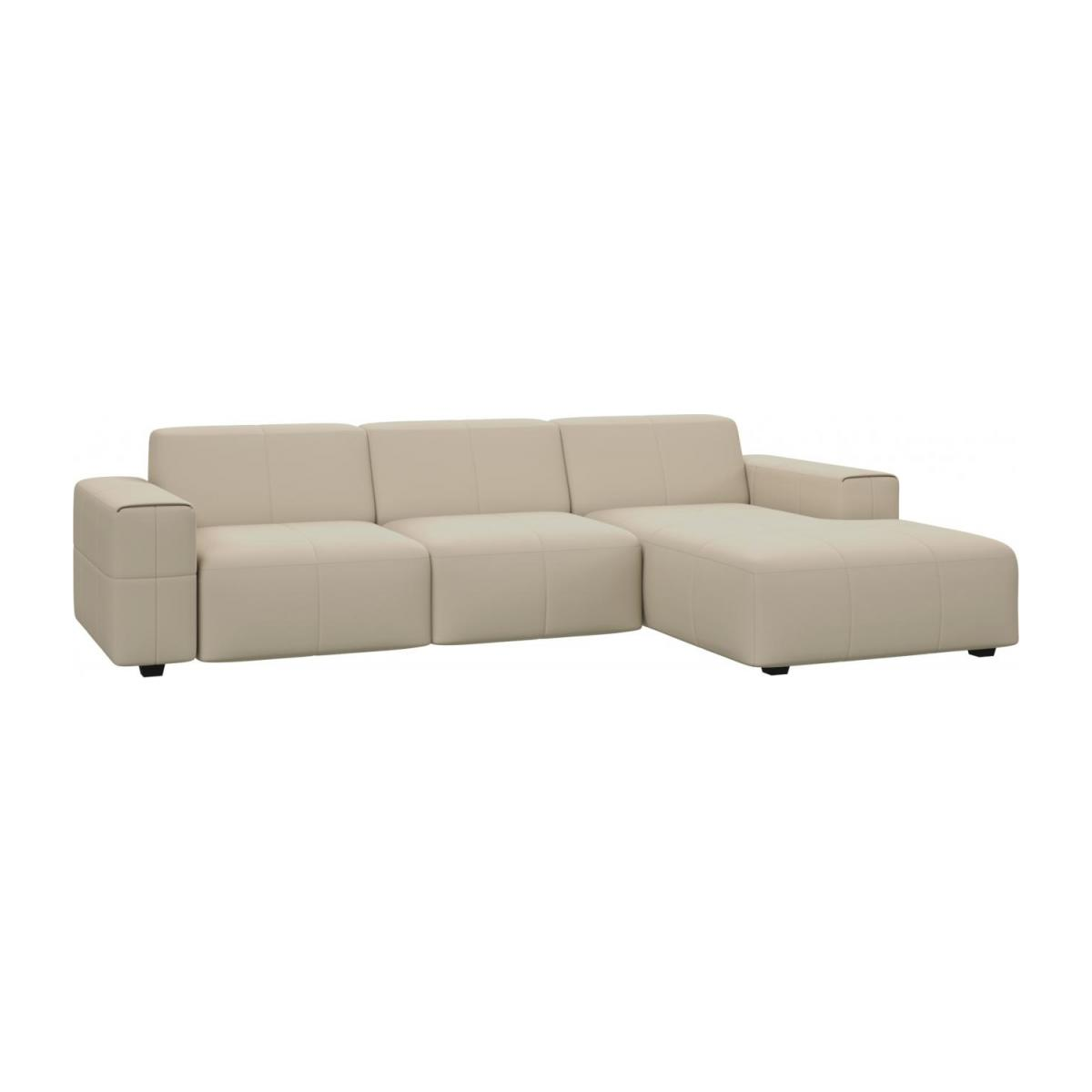 3 seater sofa with chaise longue on the right in Savoy semi-aniline leather, off white n°1