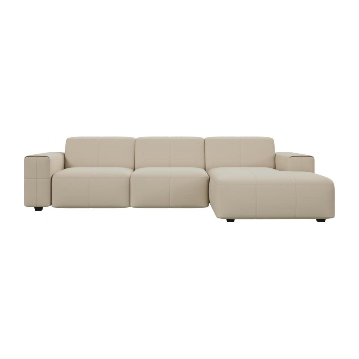 3 seater sofa with chaise longue on the right in Savoy semi-aniline leather, off white n°2