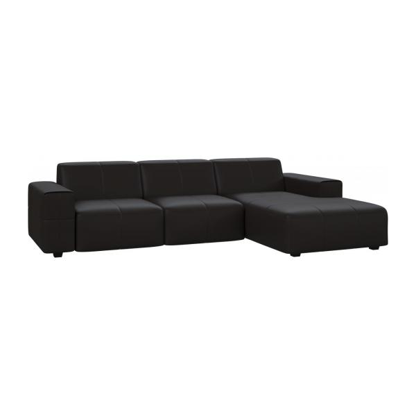 Posada 3 seater sofa with chaise longue on the right in for Brown leather chaise longue