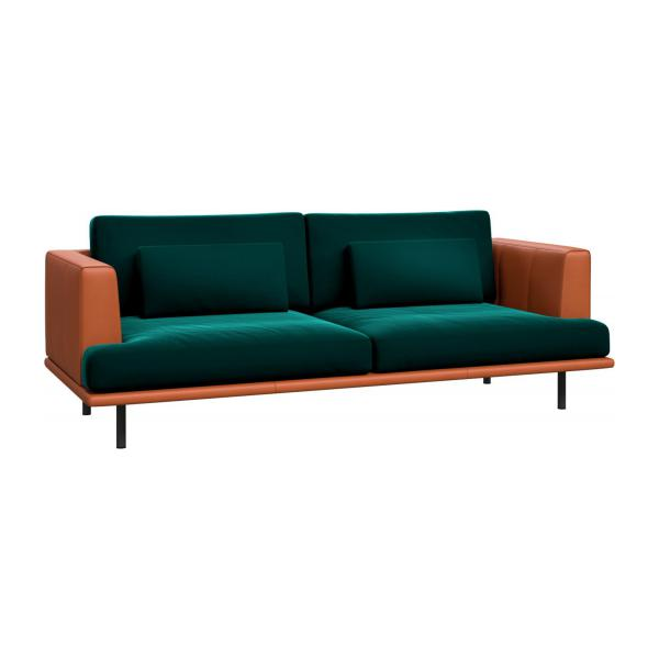 3 seater sofa in Super Velvet fabric, petrol blue with base and armrests in brown leather