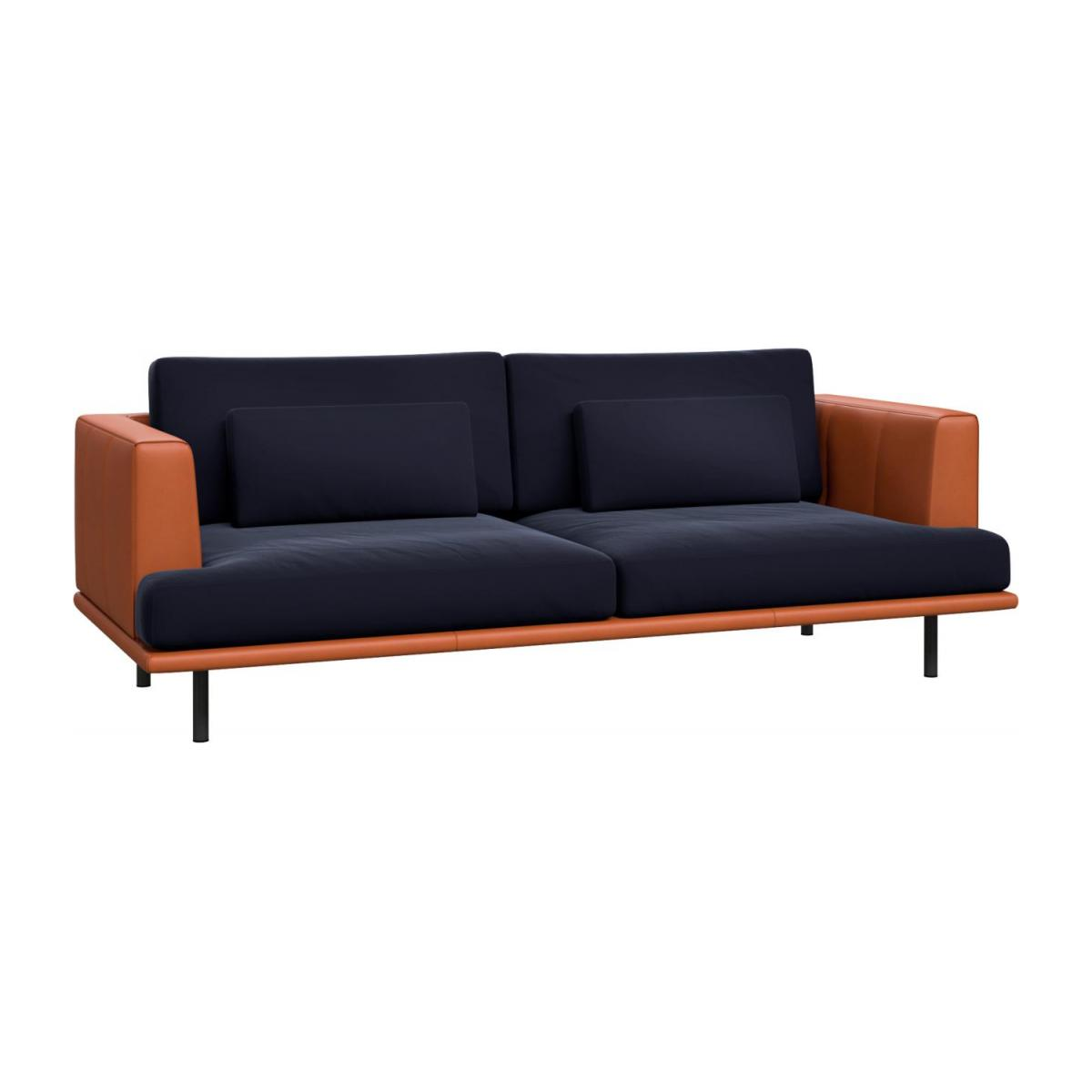 3 seater sofa in Super Velvet fabric, dark blue with base and armrests in brown leather n°1