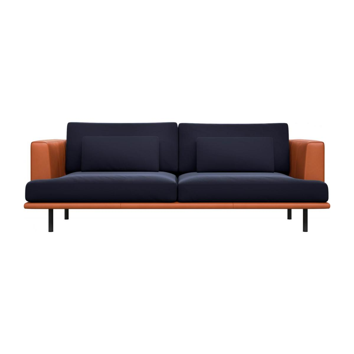 3 seater sofa in Super Velvet fabric, dark blue with base and armrests in brown leather n°3