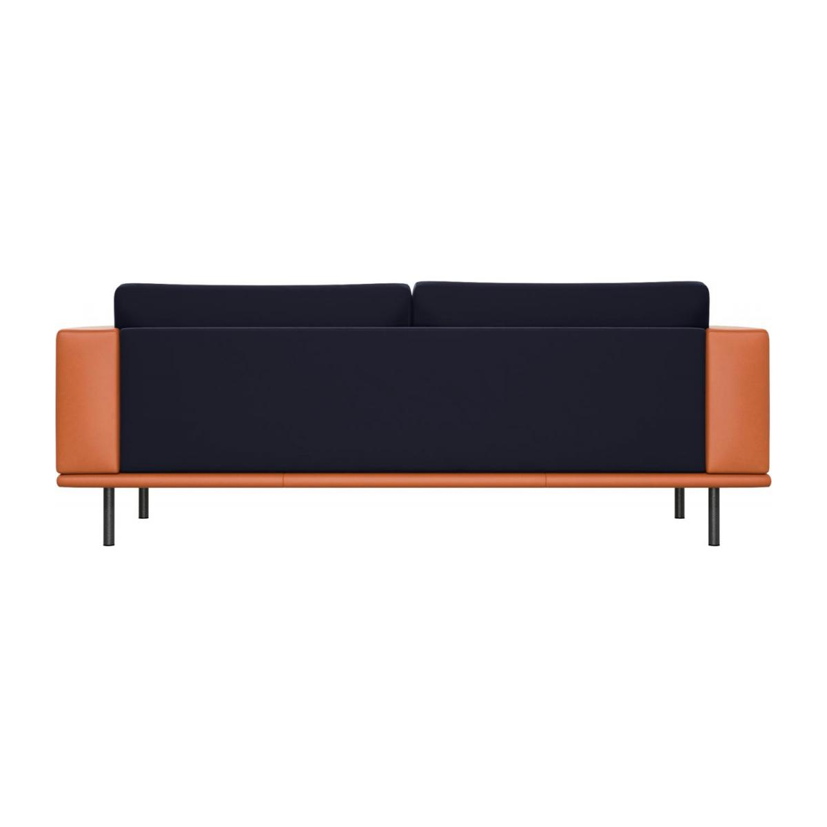 3 seater sofa in Super Velvet fabric, dark blue with base and armrests in brown leather n°4