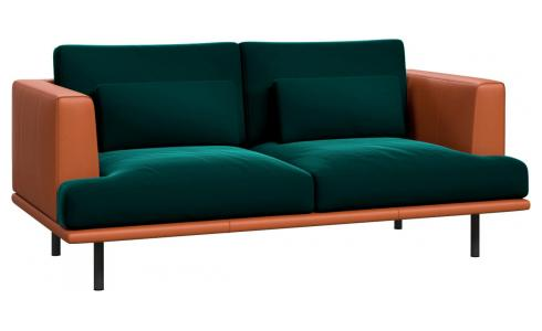 2 seater sofa in Super Velvet fabric, petrol blue with base and armrests in brown leather