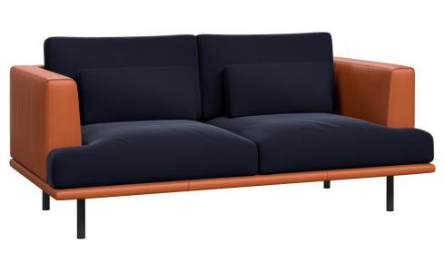 2 seater sofa in Super Velvet fabric, dark blue with base and armrests in brown leather