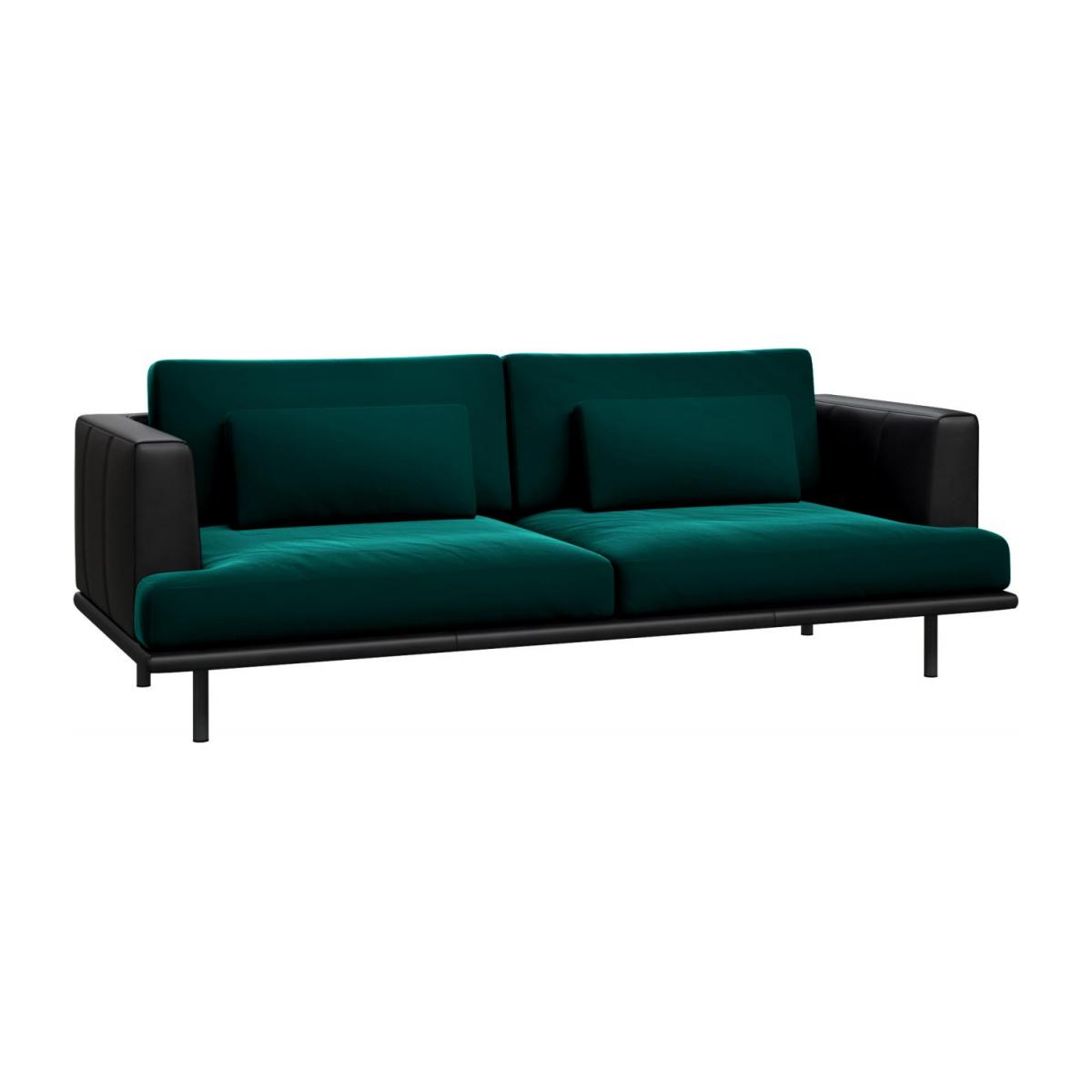 3 seater sofa in Super Velvet fabric, petrol blue with base and armrests in black leather n°1