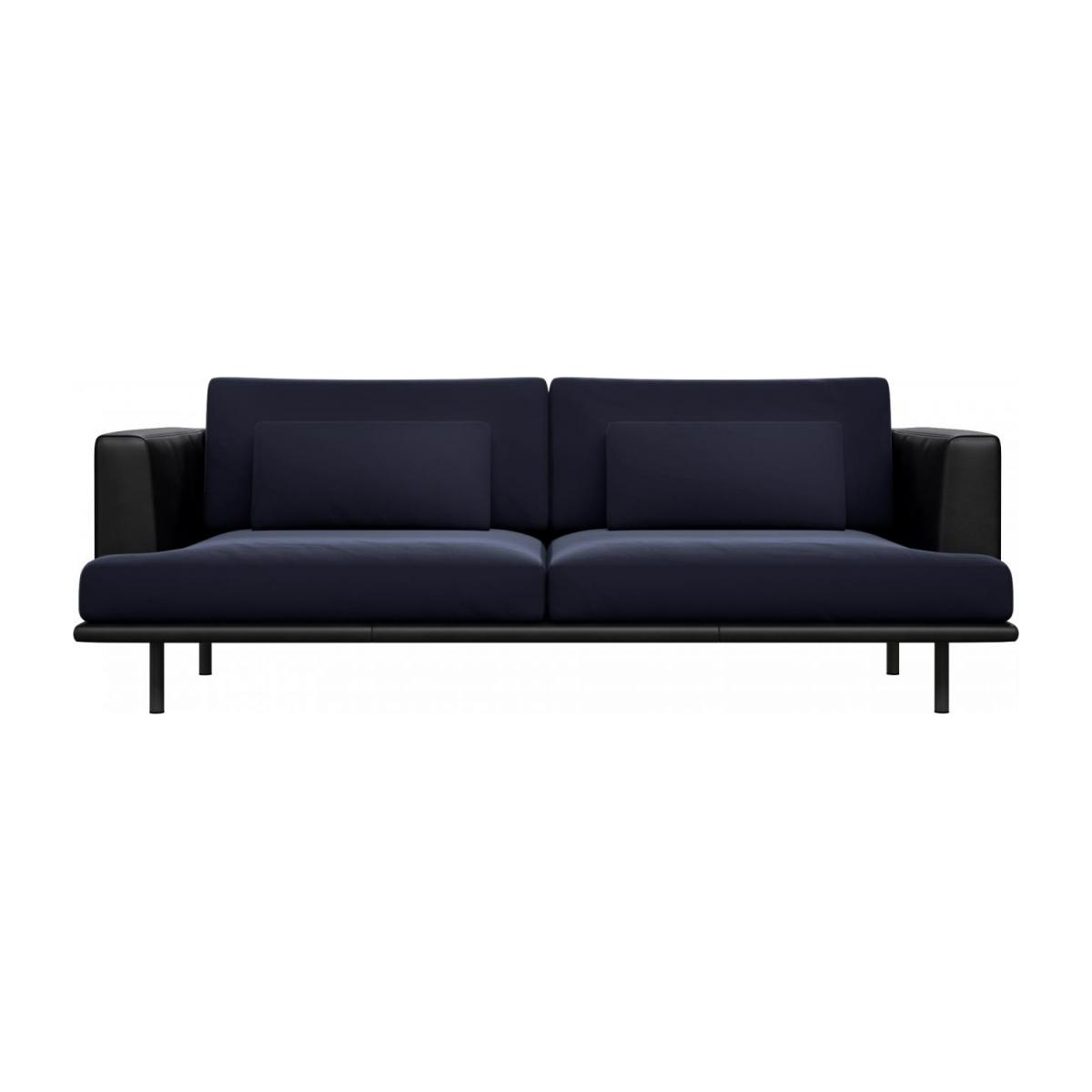 3 seater sofa in Super Velvet fabric, dark blue with base and armrests in black leather n°2