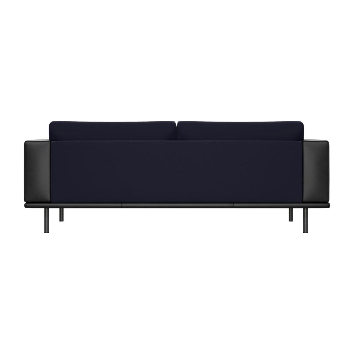 3 seater sofa in Super Velvet fabric, dark blue with base and armrests in black leather n°3