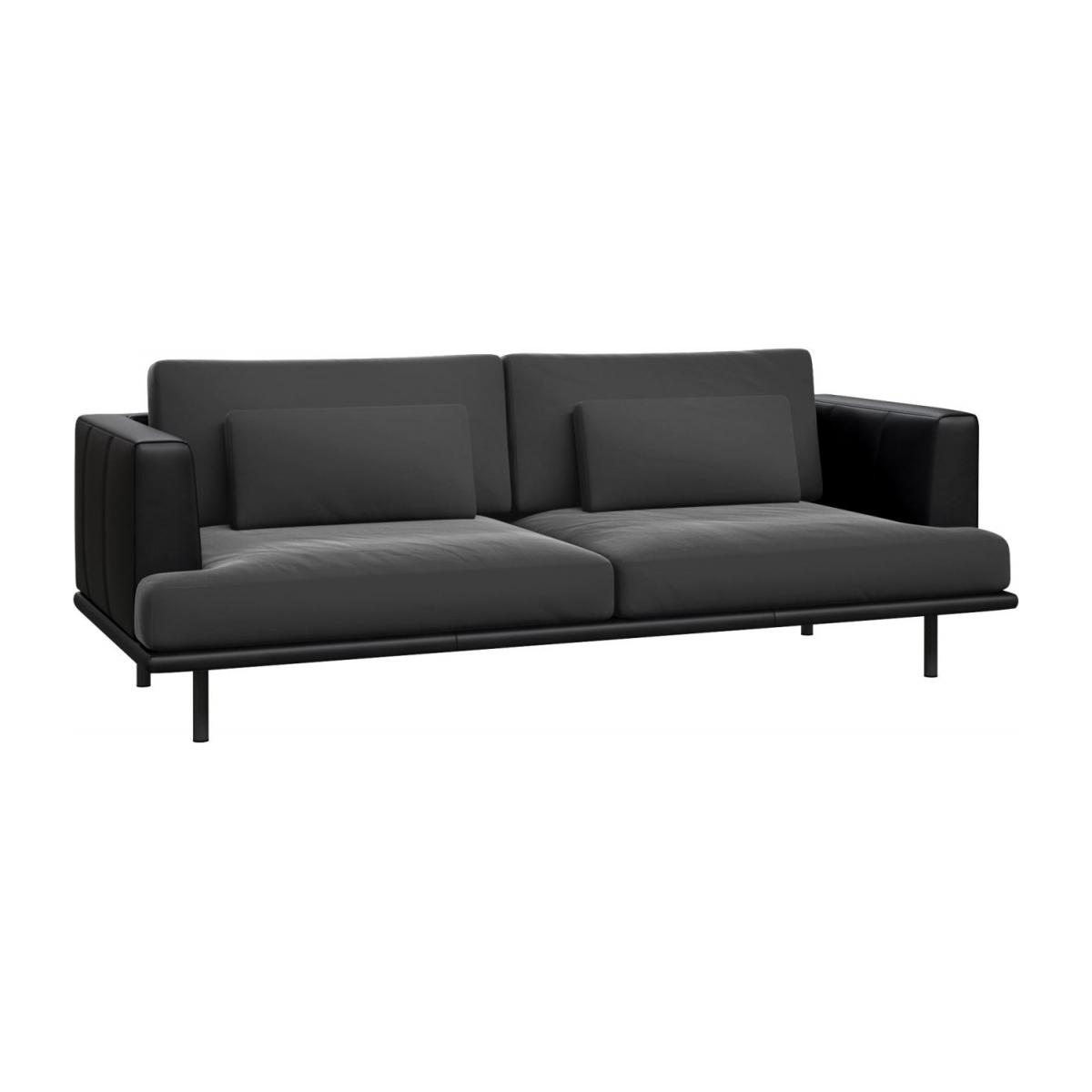 3 seater sofa in Super Velvet fabric, silver grey with base and armrests in black leather n°1