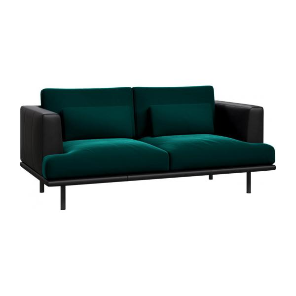 baci 2 sitzer sofa aus samt super velvet petrol blue mit. Black Bedroom Furniture Sets. Home Design Ideas