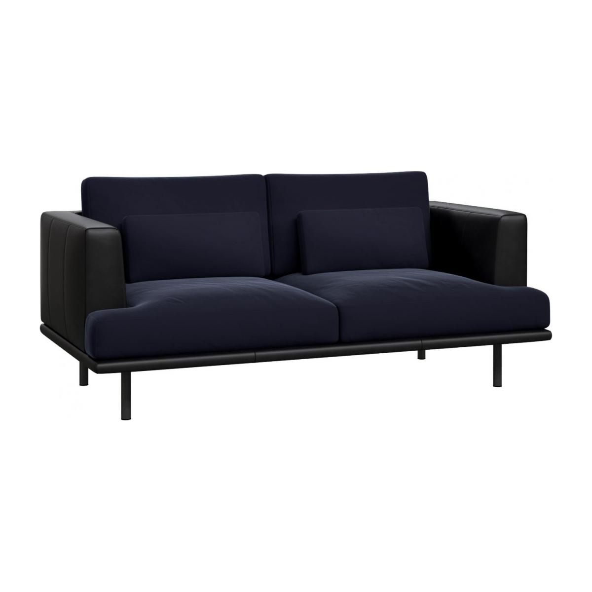 2 seater sofa in Super Velvet fabric, dark blue with base and armrests in black leather n°1