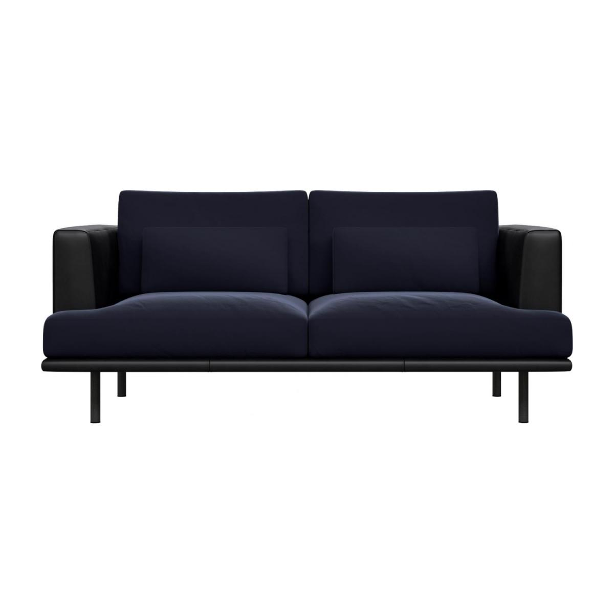 2 seater sofa in Super Velvet fabric, dark blue with base and armrests in black leather n°2