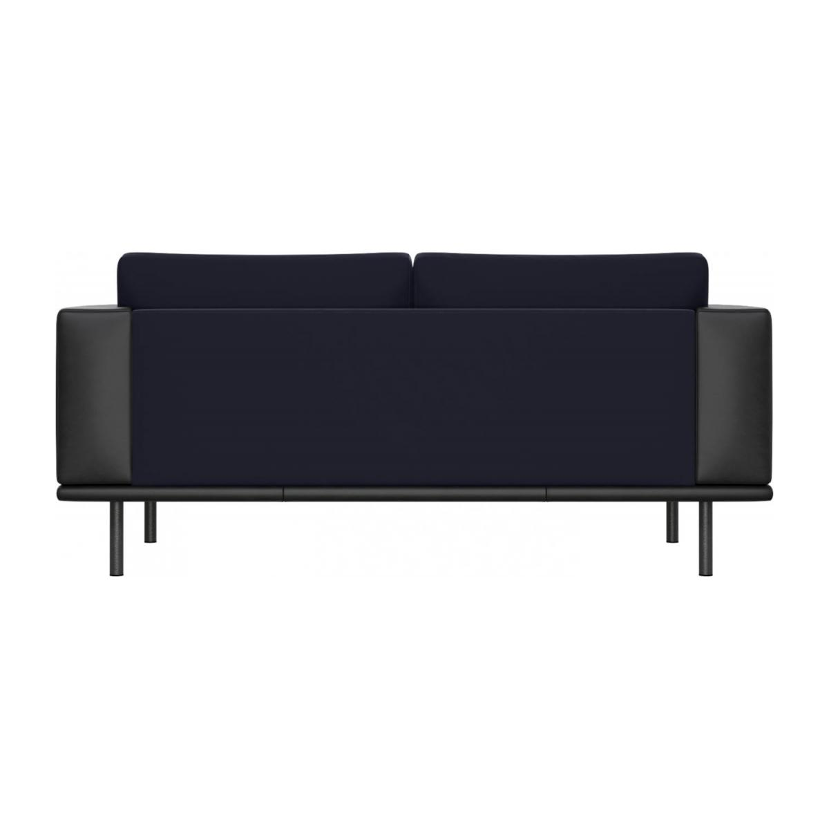 2 seater sofa in Super Velvet fabric, dark blue with base and armrests in black leather n°3