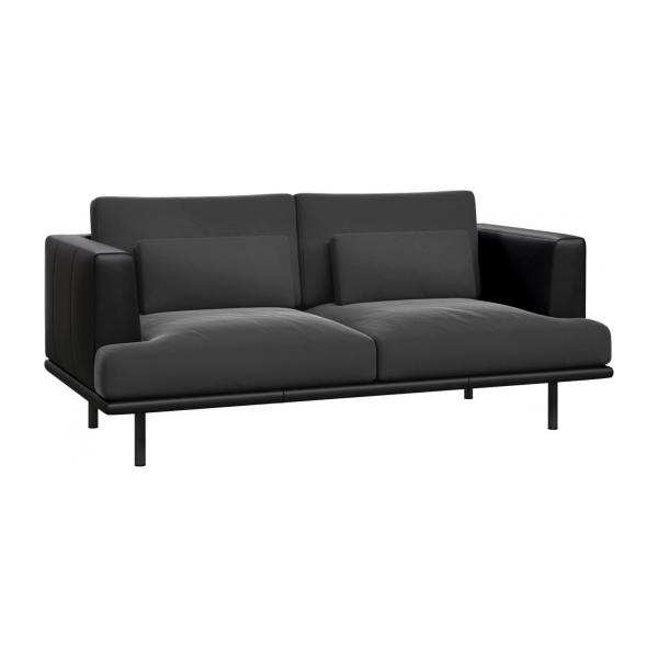 baci 2 sitzer sofa aus samt super velvet silver grey mit basis und armlehnen aus schwarzem. Black Bedroom Furniture Sets. Home Design Ideas