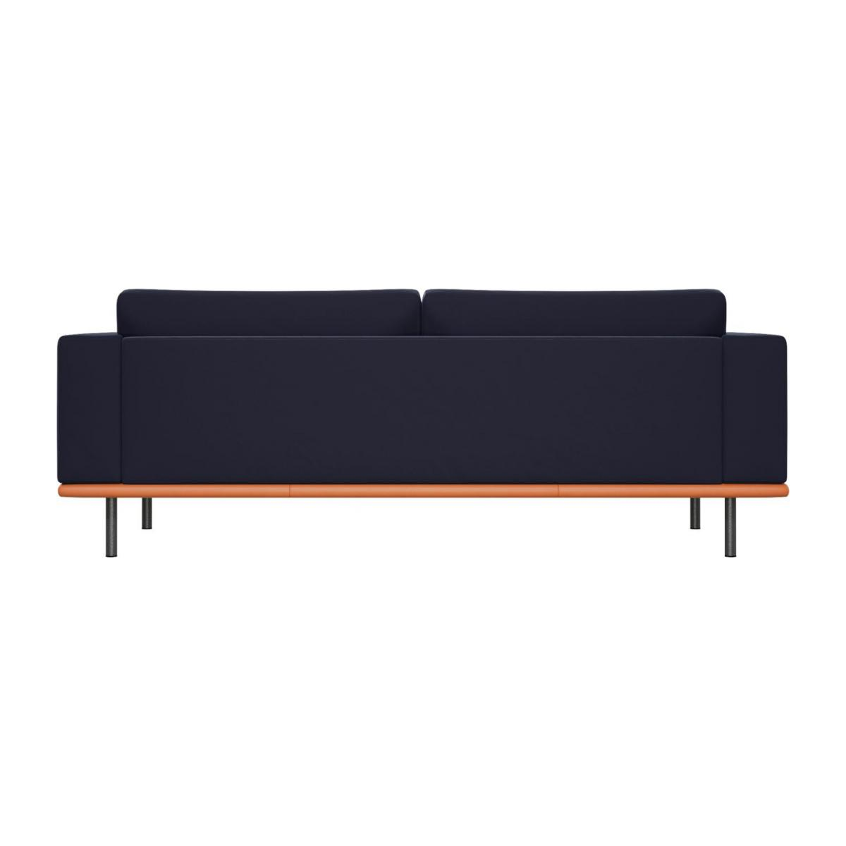 3 seater sofa in Super Velvet fabric, dark blue with base in brown leather n°3