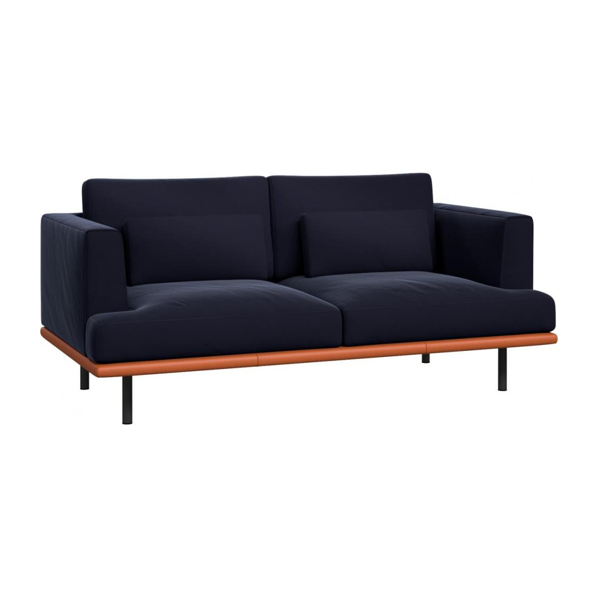 2 seater sofa in Super Velvet fabric, dark blue with base in brown leather n°1