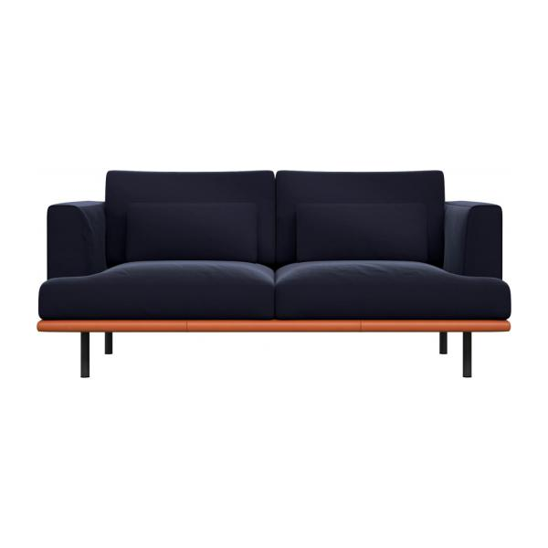 2 seater sofa in Super Velvet fabric, dark blue with base in brown leather n°2