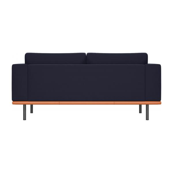 2 seater sofa in Super Velvet fabric, dark blue with base in brown leather n°3
