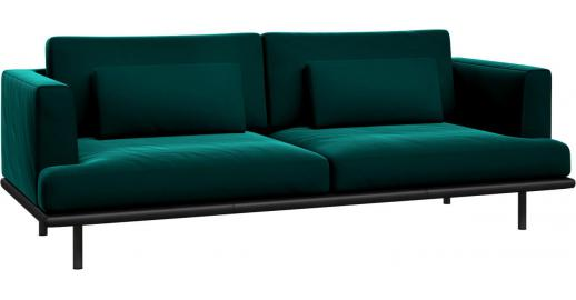 baci 3 sitzer sofa aus samt super velvet petrol blue mit basis aus schwarzem leder habitat. Black Bedroom Furniture Sets. Home Design Ideas