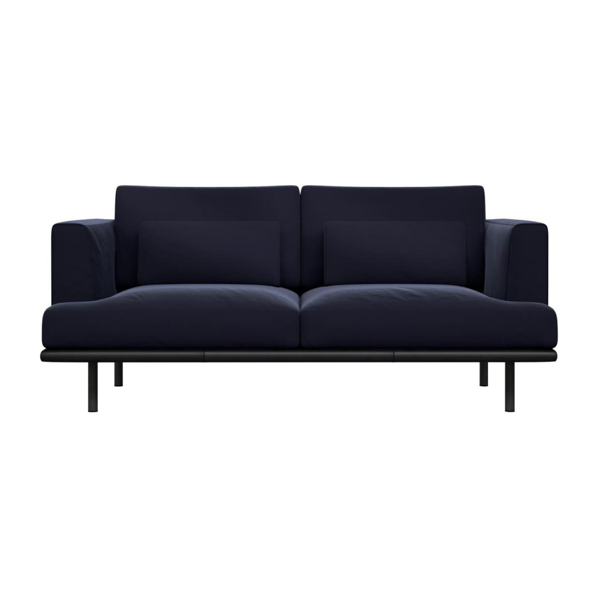 2 seater sofa in Super Velvet fabric, dark blue with base in black leather n°2