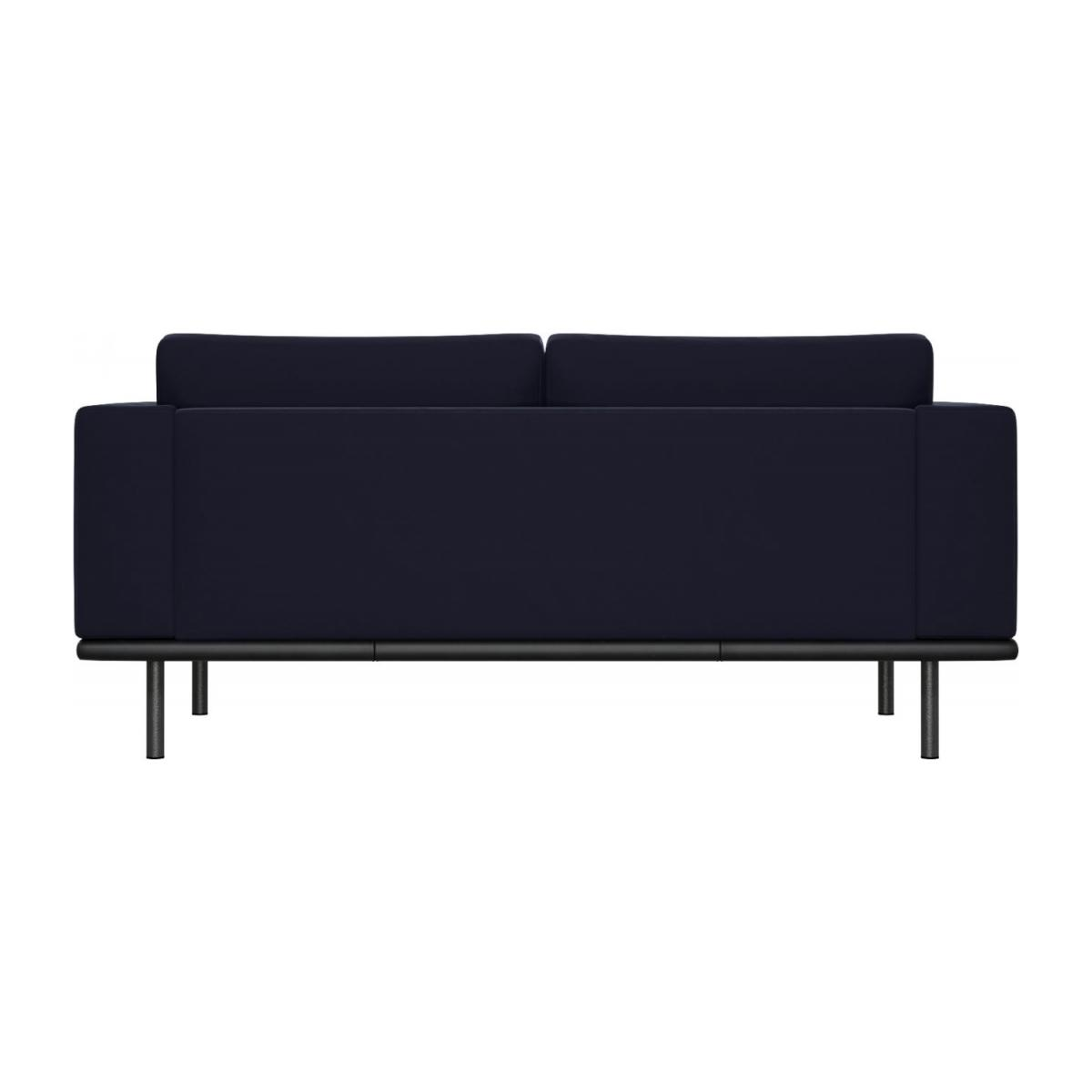 2 seater sofa in Super Velvet fabric, dark blue with base in black leather n°3
