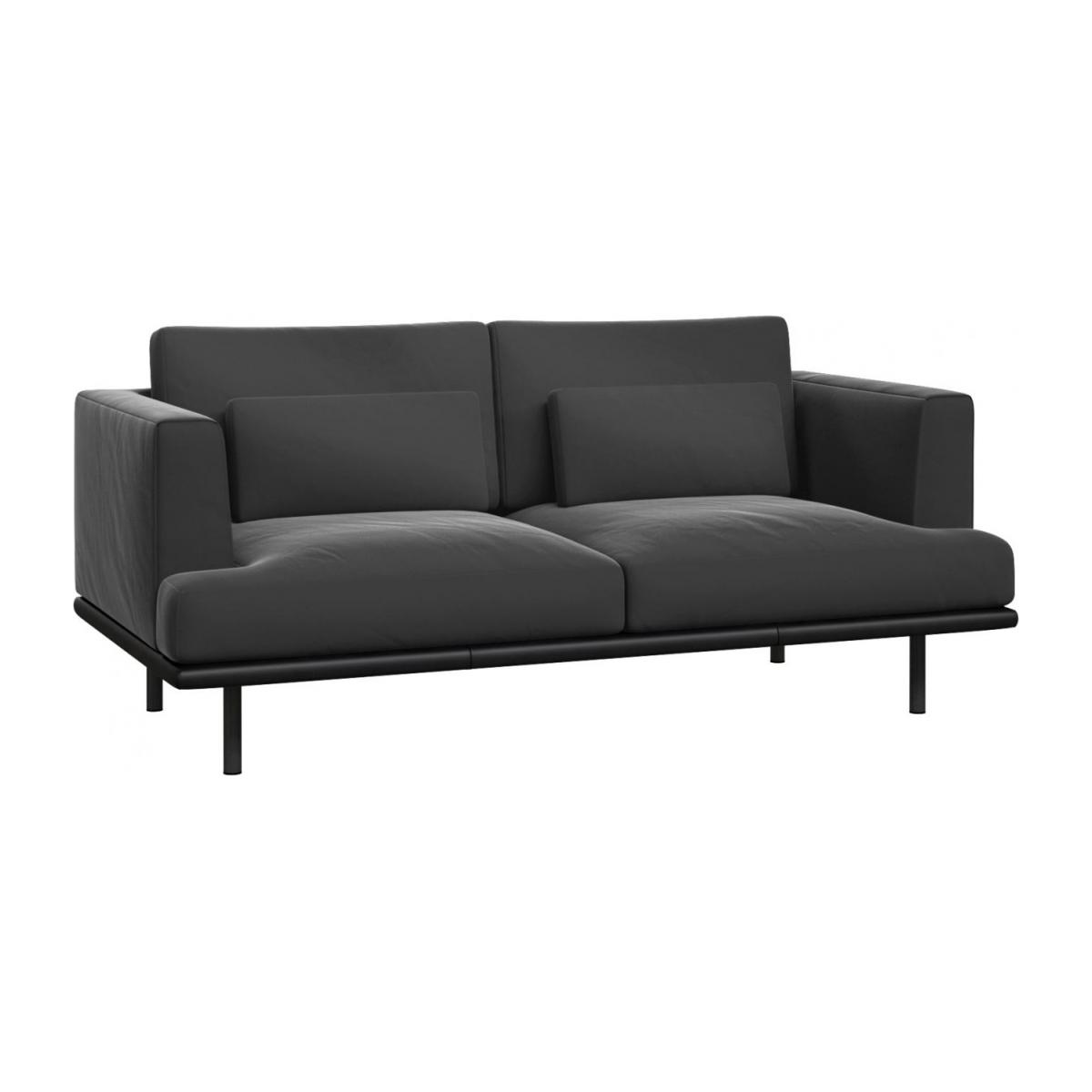 2 seater sofa in Super Velvet fabric, silver grey with base in black leather n°1