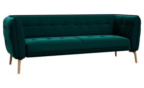 3 seater sofa in Super Velvet fabric, dark blue and dark feet