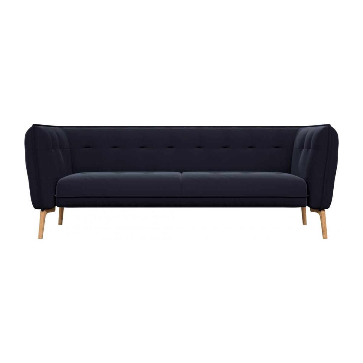 3 seater sofa in Super Velvet fabric, dark blue and natural oak feet n°2