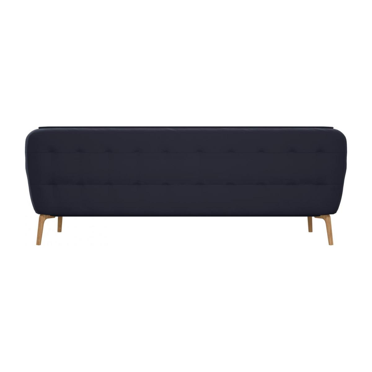 3 seater sofa in Super Velvet fabric, dark blue and natural oak feet n°3
