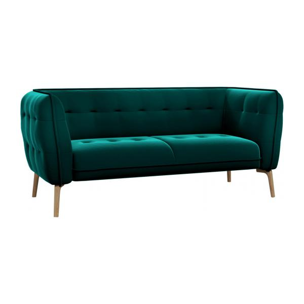 como 2 sitzer sofa aus samt super velvet petrol blue f e aus eiche habitat. Black Bedroom Furniture Sets. Home Design Ideas