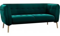 2 seater sofa in Super Velvet fabric, petrol blue and natural oak feet