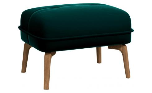 Footstool in Super Velvet fabric, petrol blue and natural oak feet