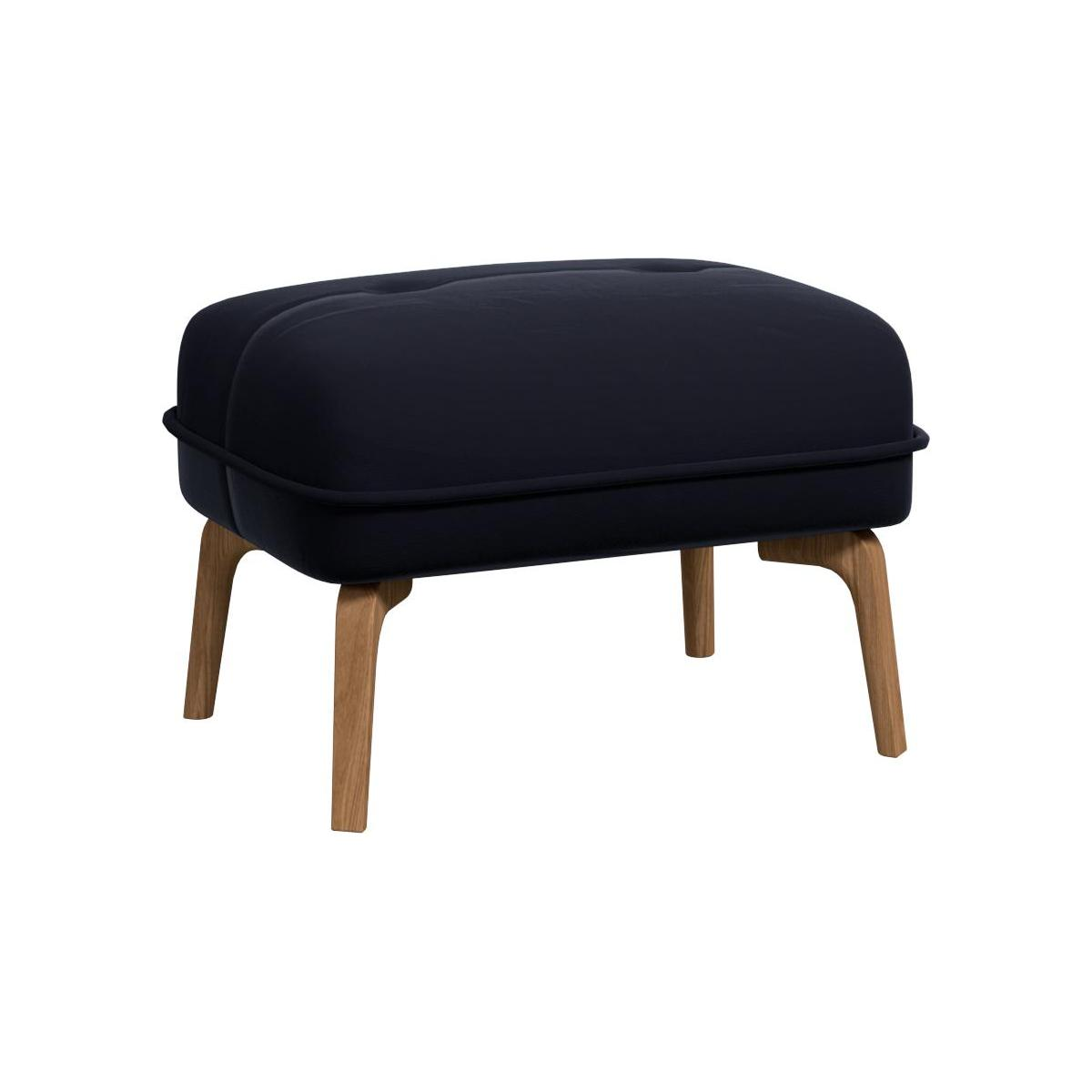 Footstool in Super Velvet fabric, dark blue and natural oak feet n°1