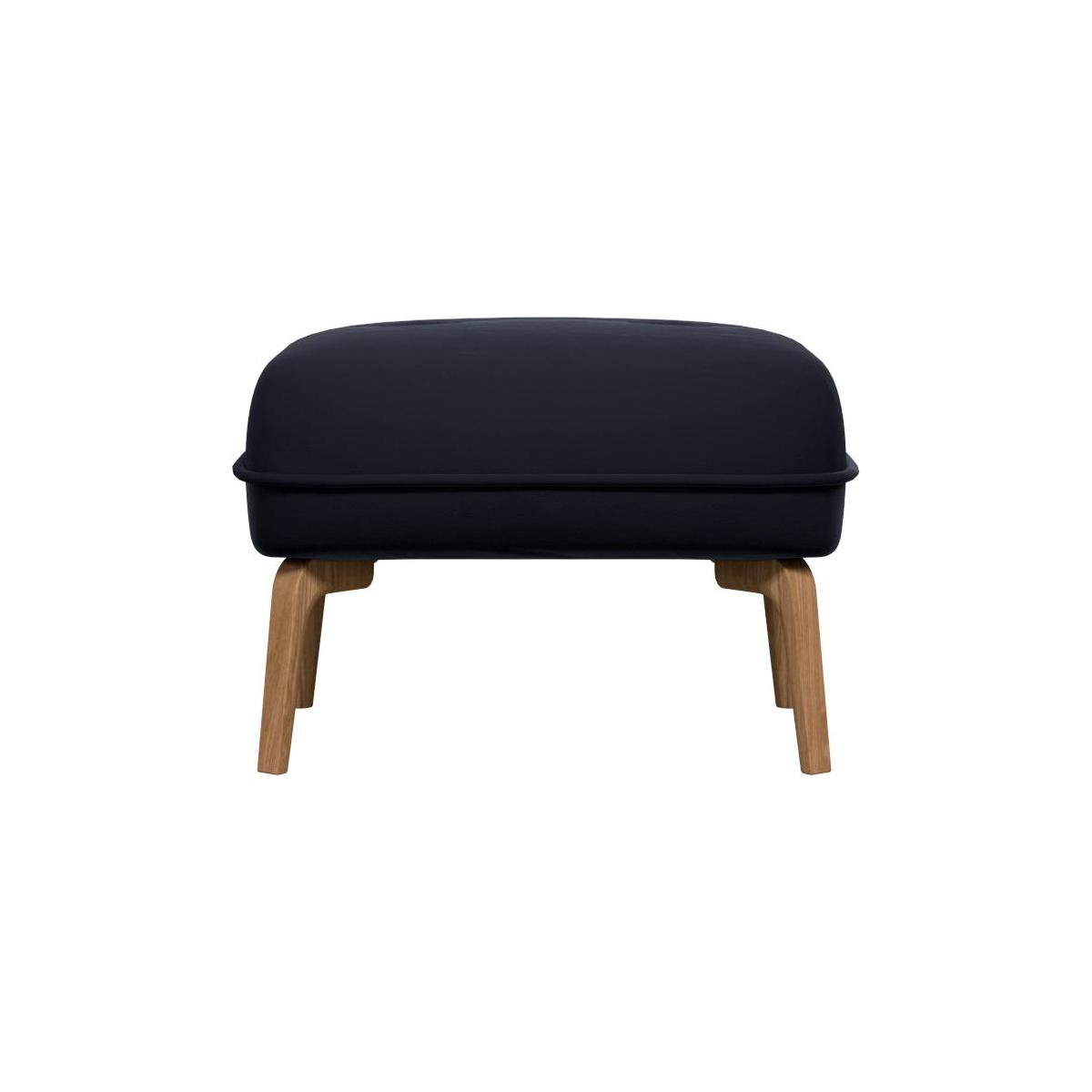 Footstool in Super Velvet fabric, dark blue and natural oak feet n°2