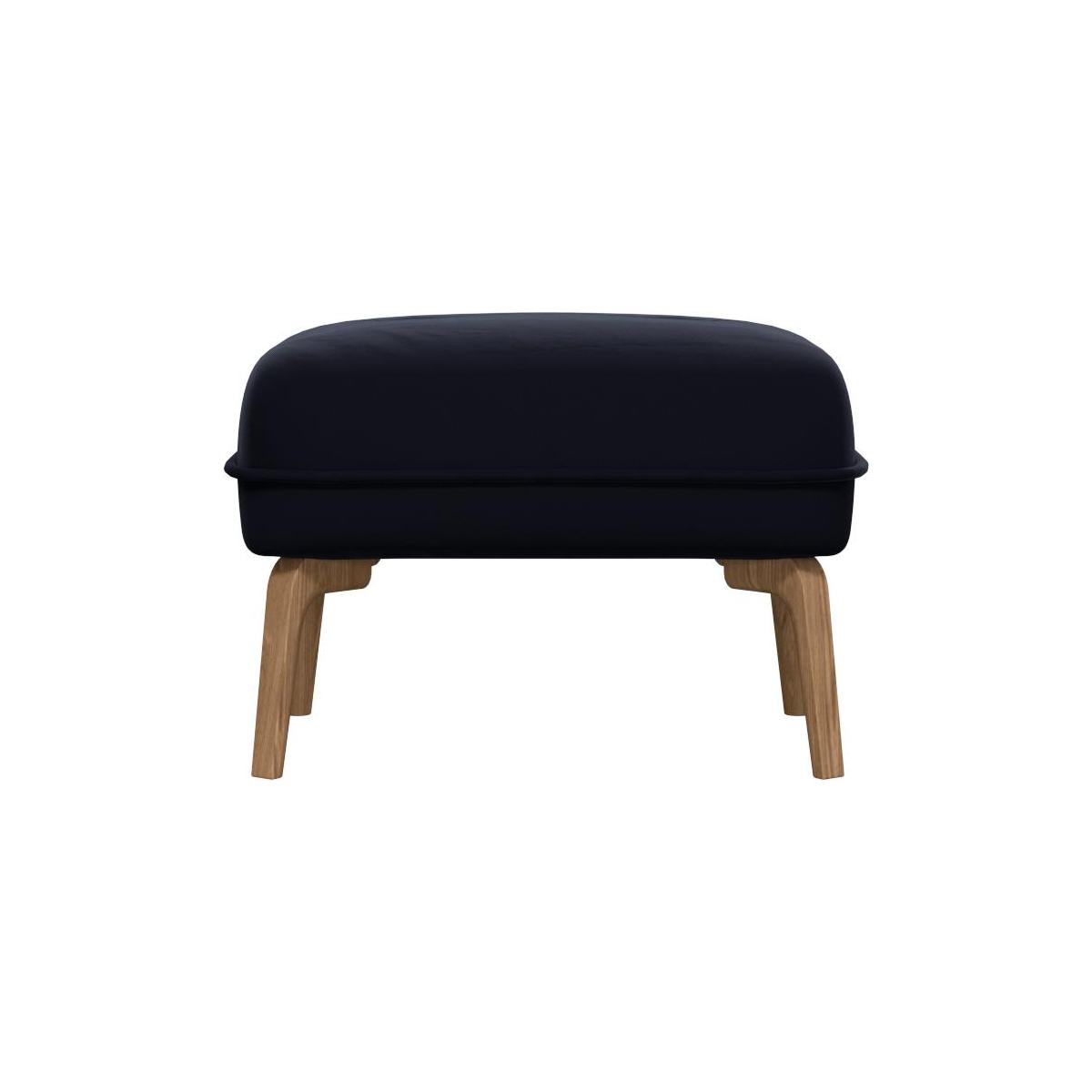 Footstool in Super Velvet fabric, dark blue and natural oak feet n°3