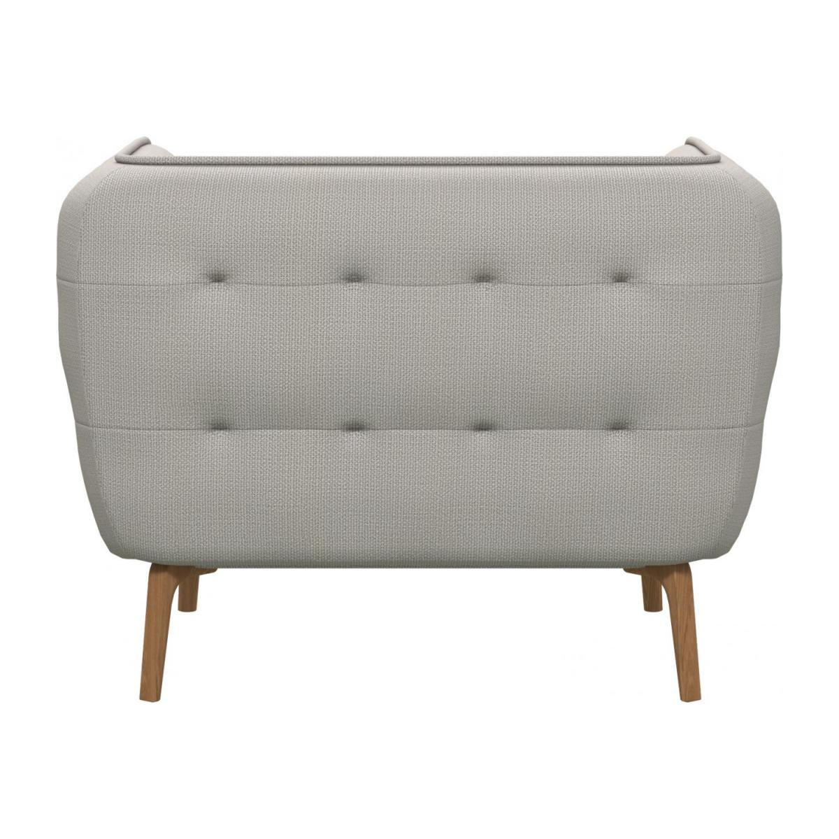 Armchair in Fasoli fabric, snow white and oak legs n°3
