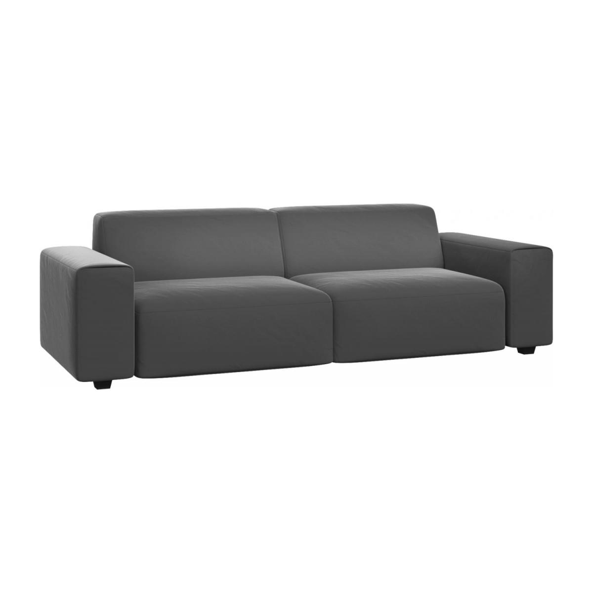4 seater sofa in Super Velvet fabric, silver grey n°1