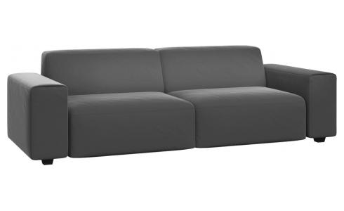 4 seater sofa in Super Velvet fabric, silver grey