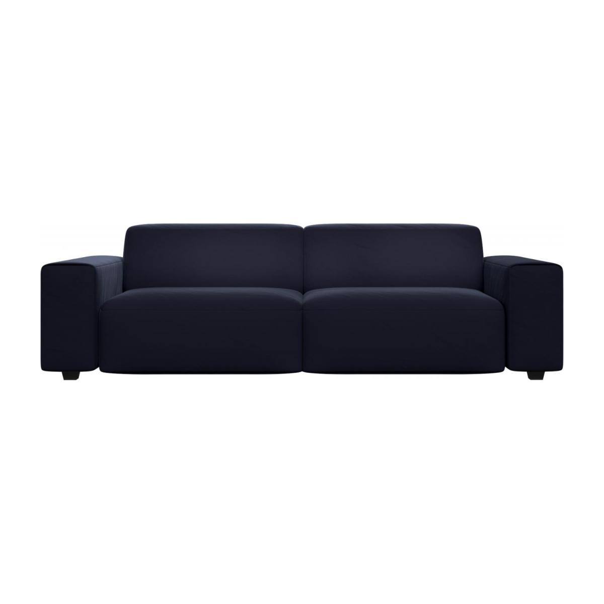 4 seater sofa in Super Velvet fabric, dark blue n°2