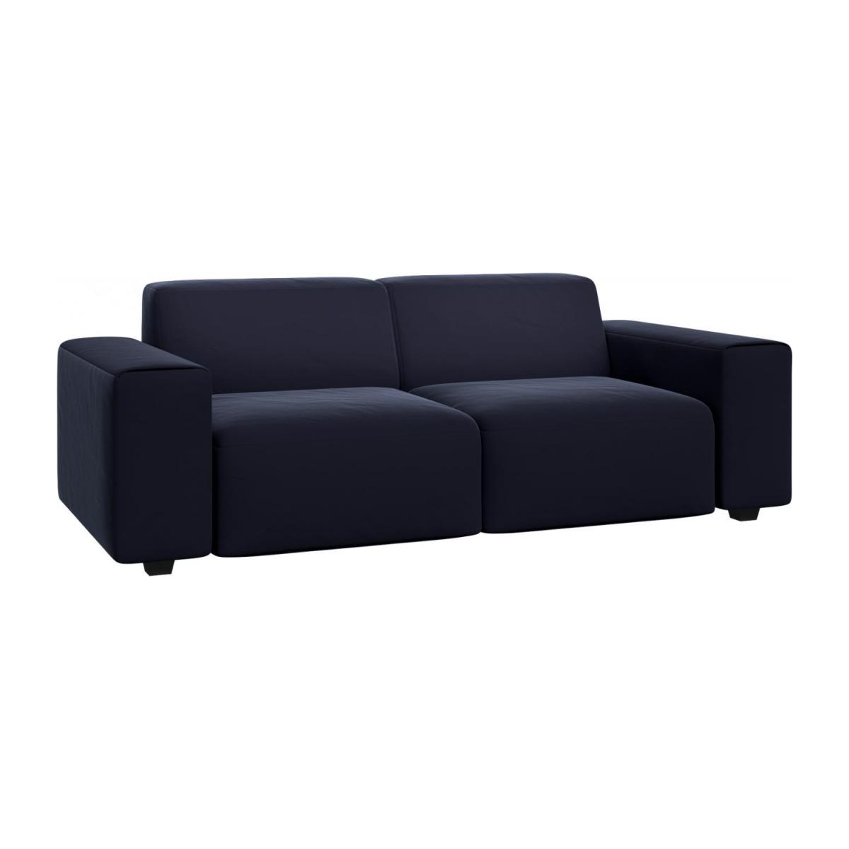 3 seater sofa in Super Velvet fabric, dark blue n°1