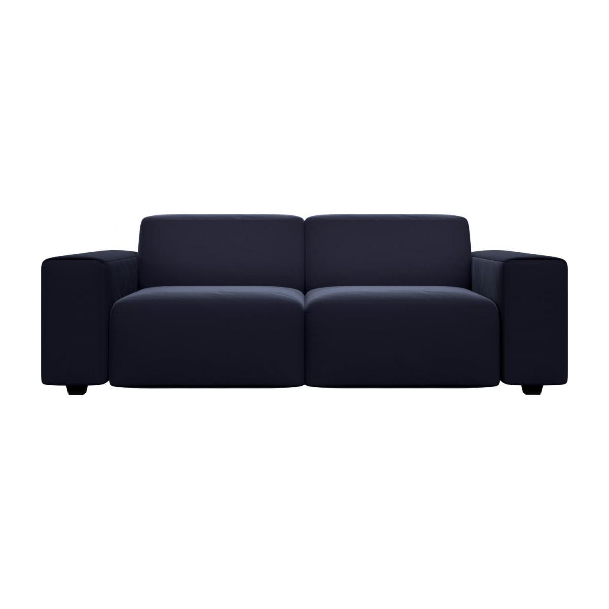 3 seater sofa in Super Velvet fabric, dark blue n°2