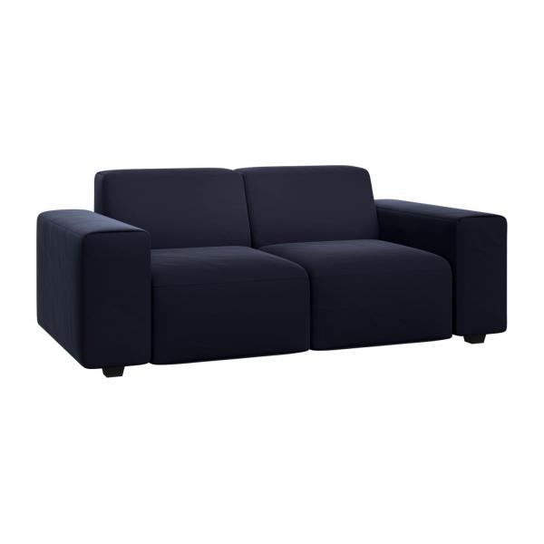 2 seater sofa in Super Velvet fabric, dark blue n°1
