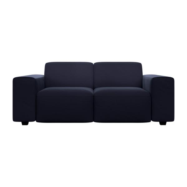 2 seater sofa in Super Velvet fabric, dark blue n°3