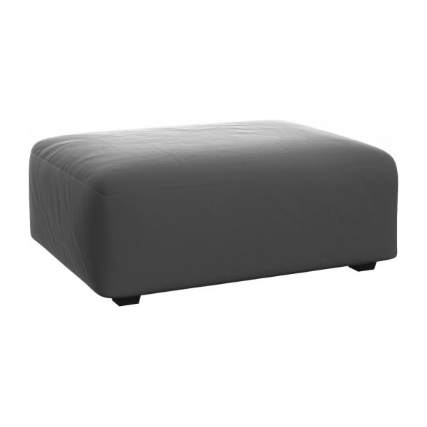 Footstool in Super Velvet fabric, silver grey