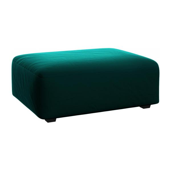 Footstool in Super Velvet fabric, petrol blue