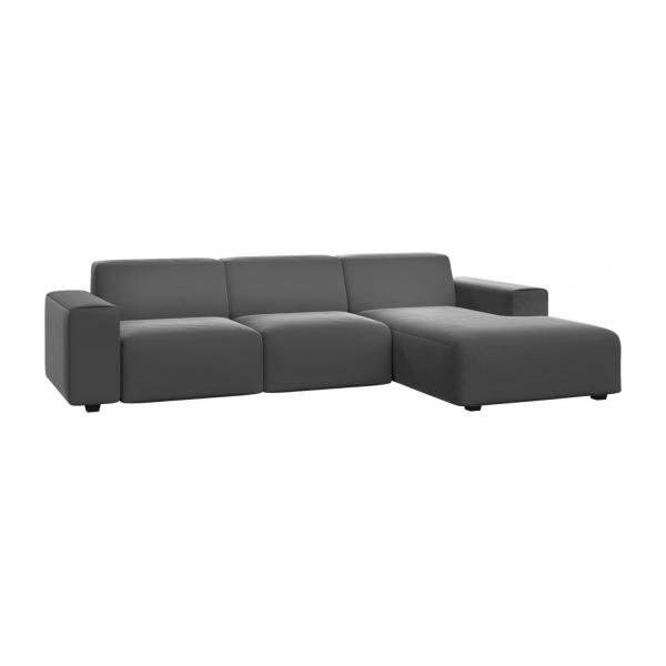 posada 3 sitzer sofa mit chaiselongue rechts aus samt grau habitat. Black Bedroom Furniture Sets. Home Design Ideas