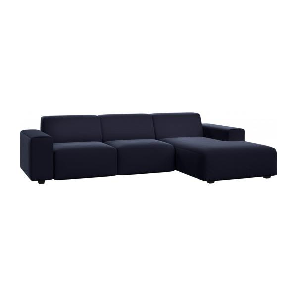 posada 3 sitzer sofa mit chaiselongue rechts aus samt dunkelblau habitat. Black Bedroom Furniture Sets. Home Design Ideas