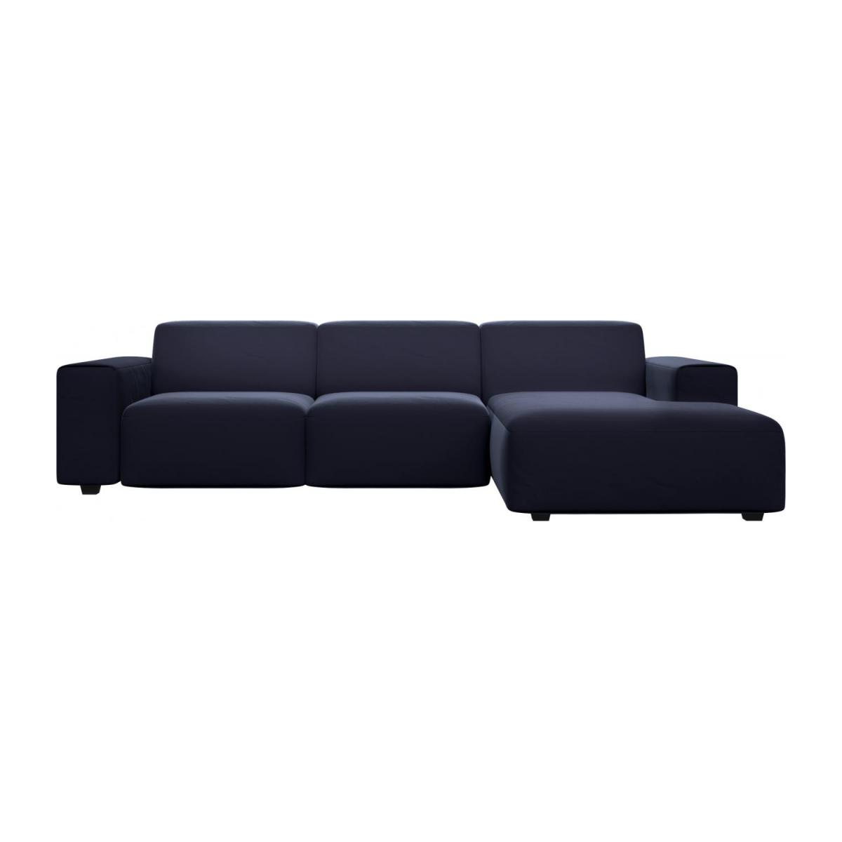 3 seater sofa with chaise longue on the right in Super Velvet fabric, dark blue n°3