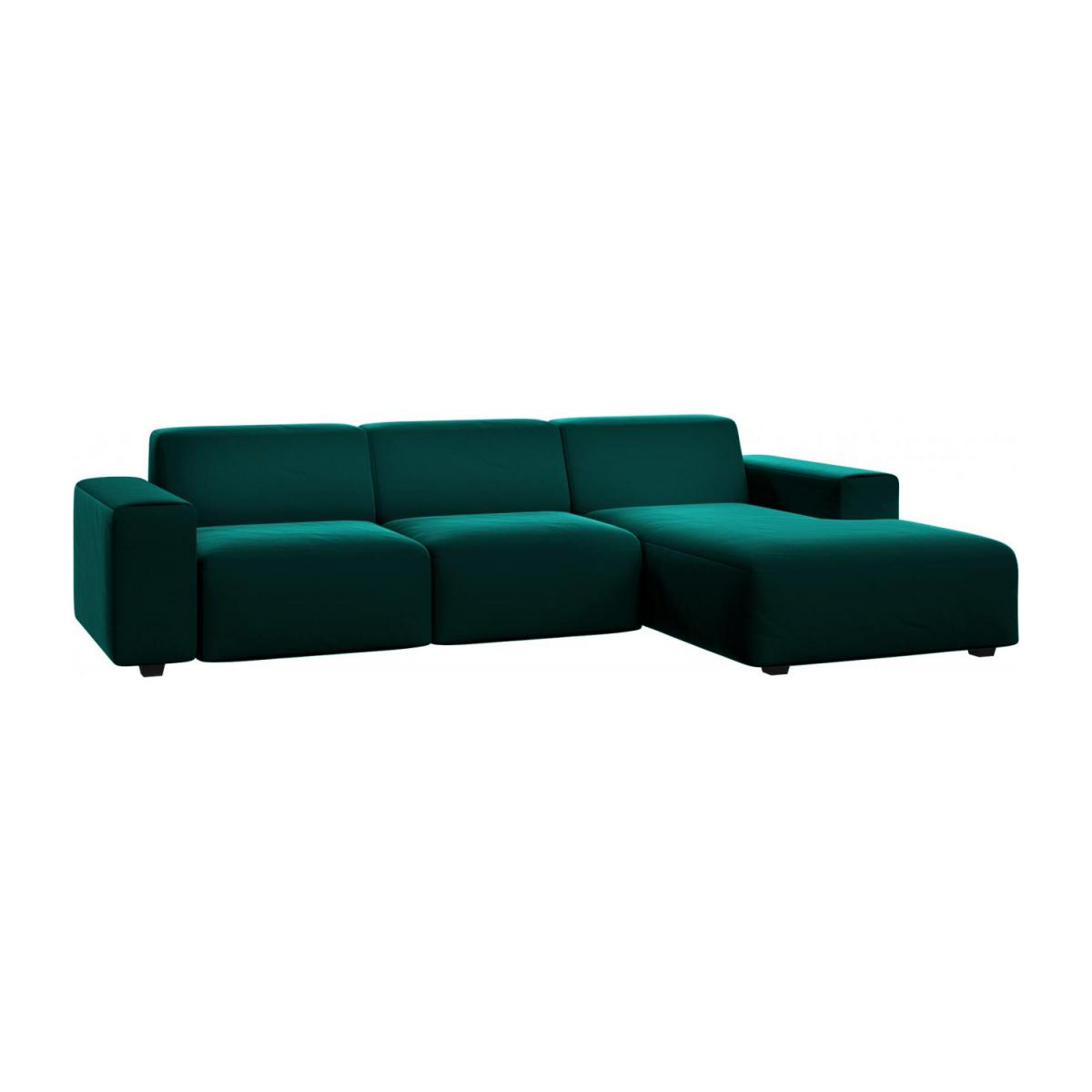 3 seater sofa with chaise longue on the right in Super Velvet fabric, petrol blue n°1