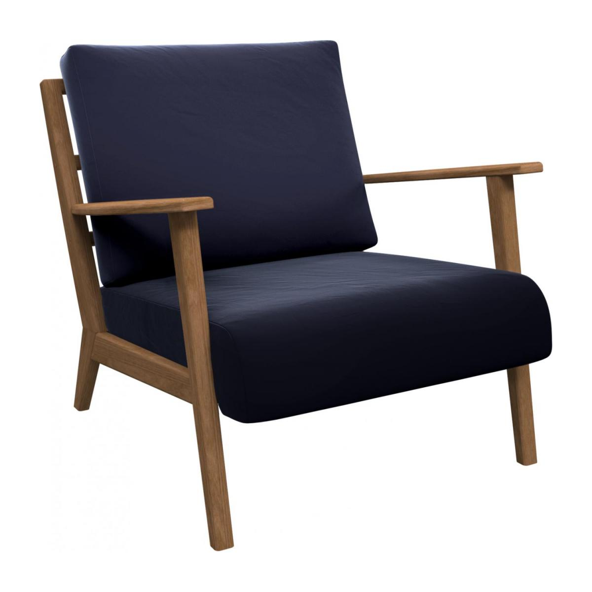 Armchair in Super Velvet fabric, dark blue n°1